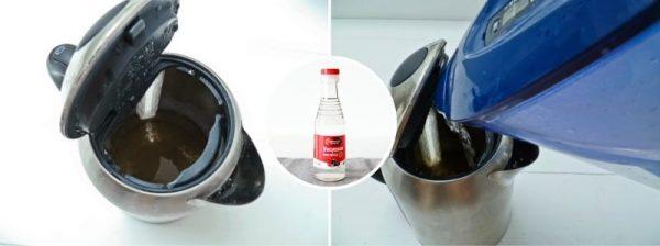 Чистим электрический чайник с помощью уксуса