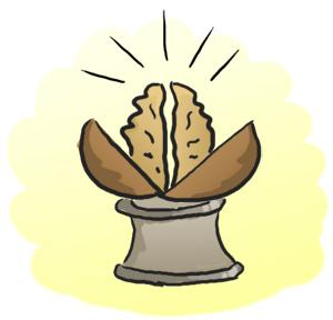 Расколотый орех, утсановленный на сантехническую муфту