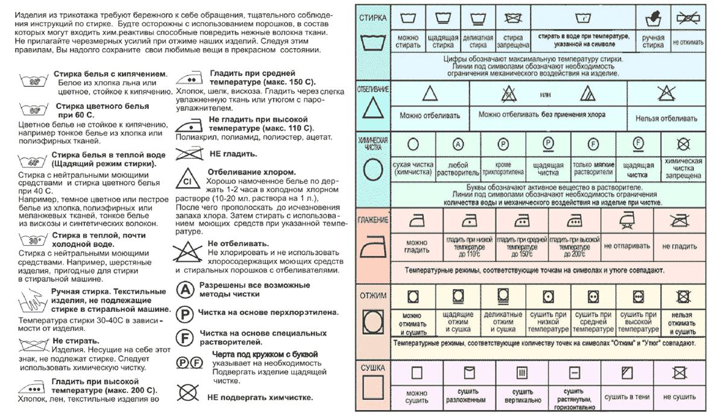 символов для одежды таблица