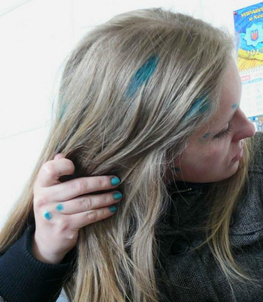 Зелёнка на волосах