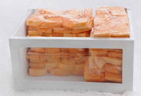 Очищенная тыква в морозильной камере