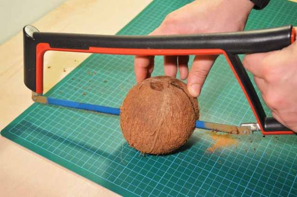 Ручная пила и кокос