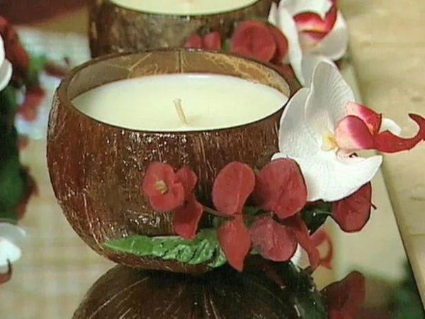 Свечи из кокосовой скорлупы