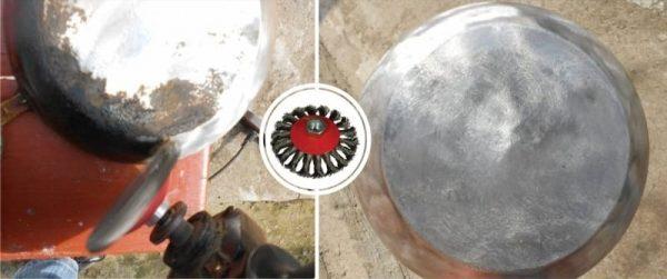 Отчищение сковороды от нагара болгаркой