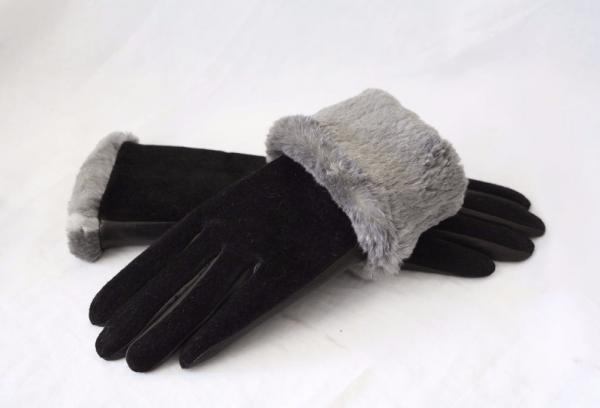 Замшевые перчатки с мехом