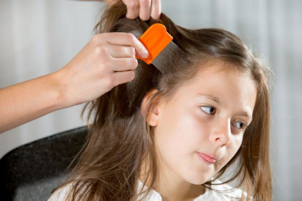 Волосы девочки расчёсывают гребнем