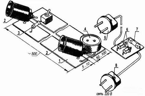 Схема компоновки электроловушки для крыс