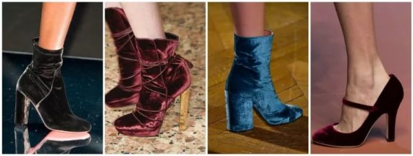Сапоги и туфли из бархата на высоком каблуке